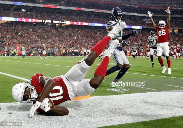 Wide receiver Chad Williams of the Arizona Cardinals falls out of bounds during the first quarter against the Seattle Seahawks at State Farm Stadium...