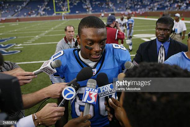 Wide receiver Charles Rogers of the Detroit Lions talks to the press after the game against the Arizona Cardinals at Ford Field on September 7 2003...