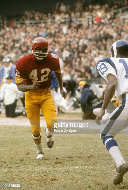 Wide Receiver Charlie Taylor of the Washington Redskins runs a pass route against the Los Angeles Rams during an NFL Football game November 30 1969...
