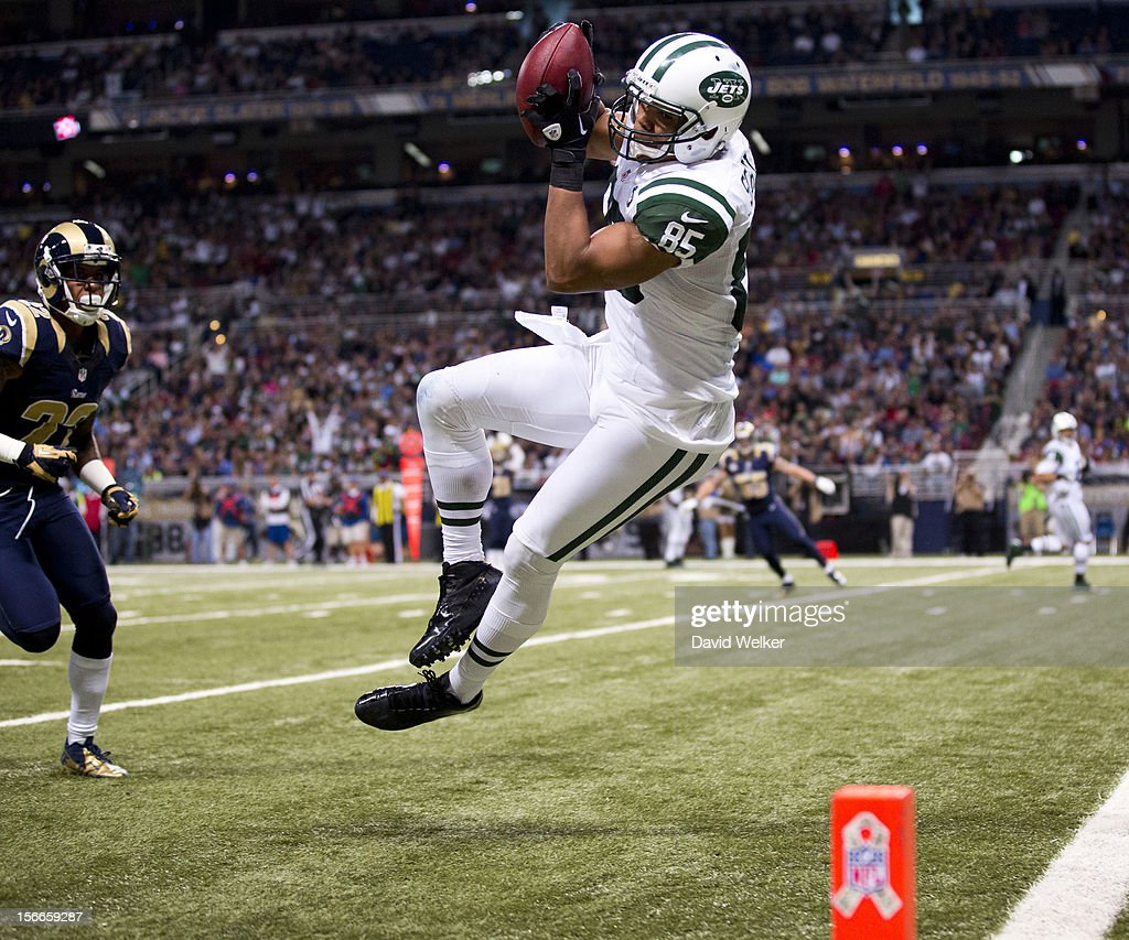 Wide receiver Chaz Schilens #85 of the New York Jets falls towards the goal line after making a leaping catch during the game against the St. Louis Rams at the Edward Jones Dome on November 18, 2012 in St. Louis, Missouri.