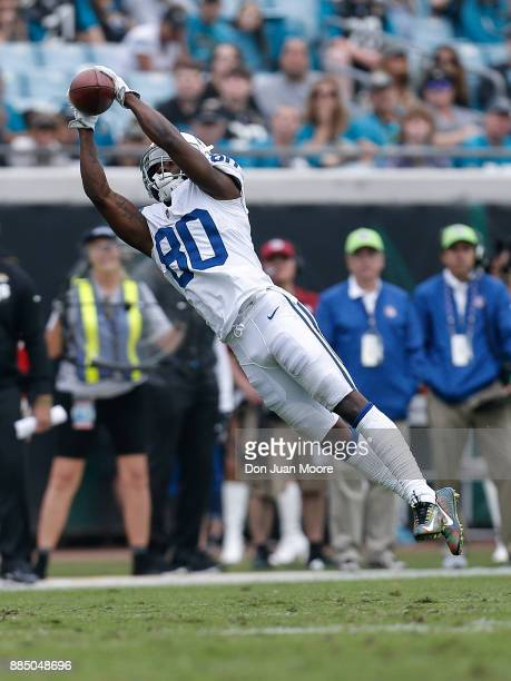 Wide Receiver Chester Rogers of the Indianapolis Colts extends his body out to makes a catch during the game against the Jacksonville Jaguars at...
