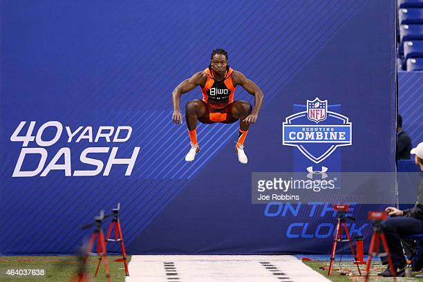 Wide receiver Chris Conley of Georgia gets ready to run the 40-yard dash during the 2015 NFL Scouting Combine at Lucas Oil Stadium on February 21,...