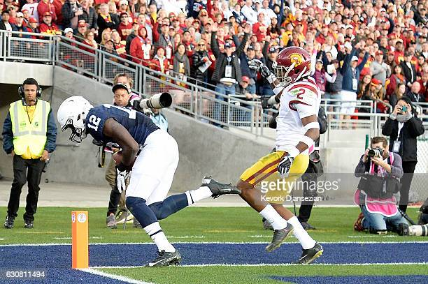 Wide receiver Chris Godwin of the Penn State Nittany Lions catches a 30yard touchdown pass in the second quarter against defensive back Adoree'...