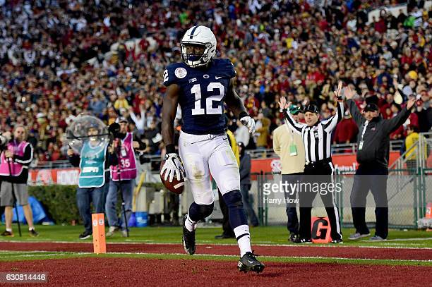 Wide receiver Chris Godwin of the Penn State Nittany Lions reacts after scoring a 72yard touchdown in the third quarter against the USC Trojans...