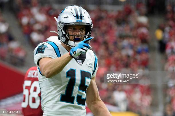 Wide receiver Chris Hogan of the Carolina Panthers reacts after a play in the first half of the NFL game against the Arizona Cardinals at State Farm...