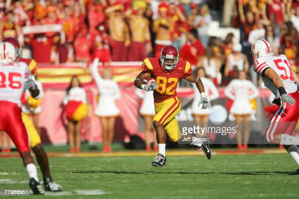 Wide receiver Chris McFoy of the University of Southern California Trojans carries the ball during the game against the University of Nebraska...