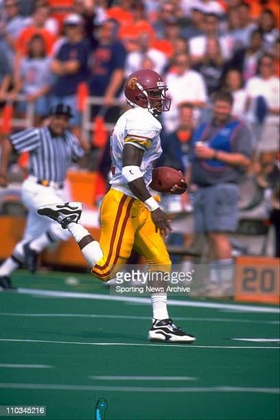 USC wide receiver Chris Miller scoring a touchdown during a game against Illinois on September 7 1996 in Champaign IL USC won the game 553