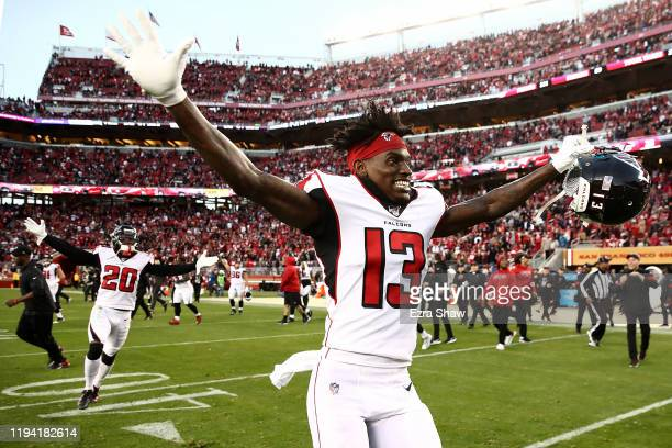 Wide receiver Christian Blake of the Atlanta Falcons celebrates the 2921 win over the San Francisco 49ers at Levi's Stadium on December 15 2019 in...