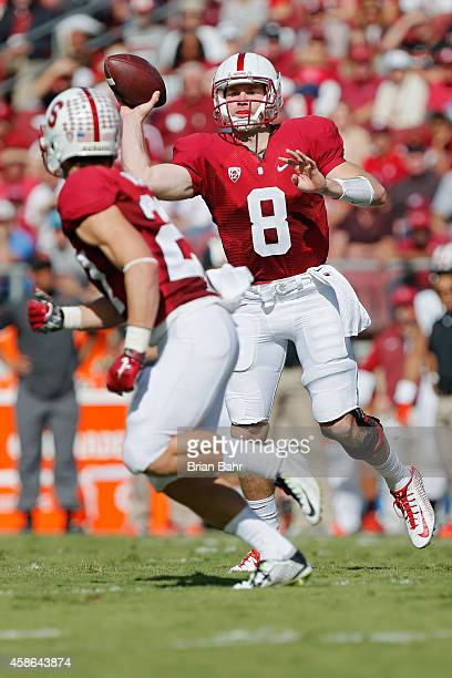 Wide receiver Christian McCaffrey of the Stanford Cardinal makes a 10yard catch for a first down at the one yard line to set up a touchdown against...