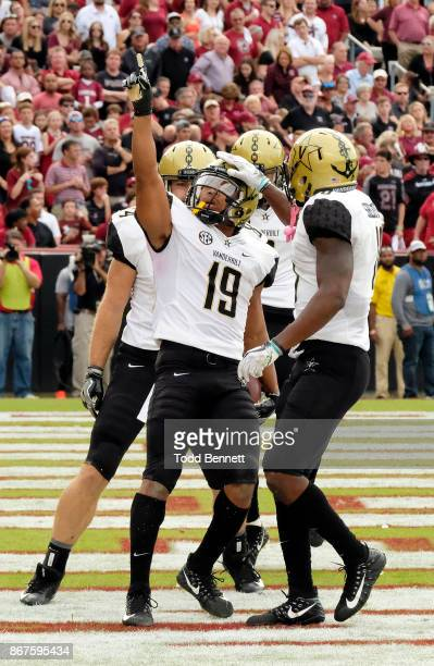 Wide receiver CJ Duncan of the Vanderbilt Commodores is congratulated after scoring a touchdown against the South Carolina Gamecocks at WilliamsBrice...