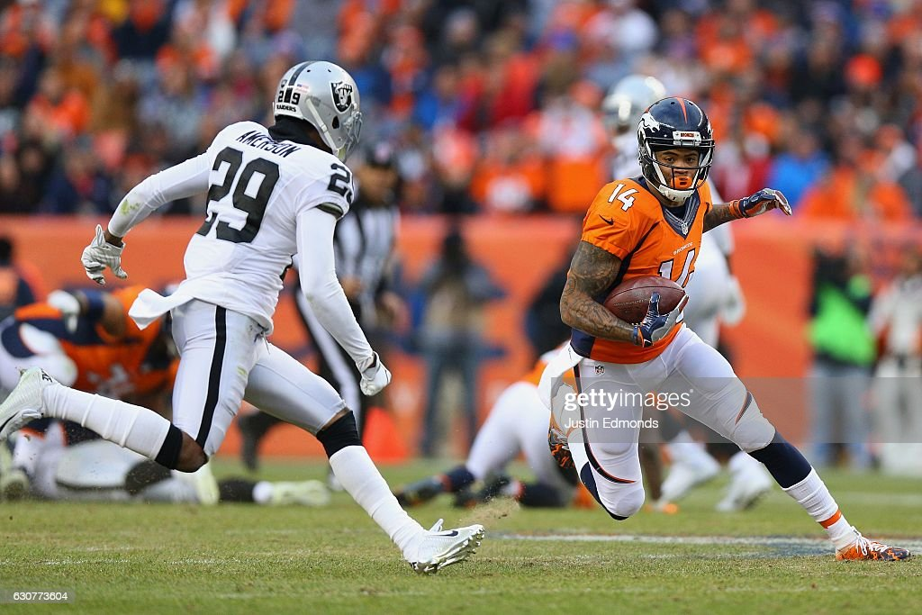 Wide receiver Cody Latimer #14 of the Denver Broncos catches a pass for a first down in the third quarter of the game against the Oakland Raiders at Sports Authority Field at Mile High on January 1, 2017 in Denver, Colorado.