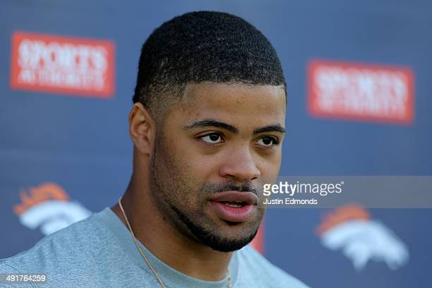 Wide receiver Cody Latimer of the Denver Broncos talks to the media following rookie camp at Dove Valley on May 17 2014 in Englewood Colorado