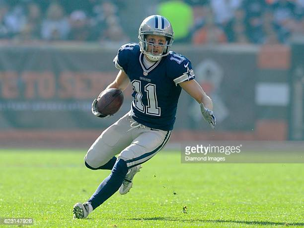 Wide receiver Cole Beasley of the Dallas Cowboys carries the ball downfield during a game against the Cleveland Browns on November 6 2016 at...