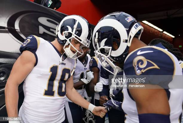 Wide receiver Cooper Kupp and Robert Woods of the Los Angeles Rams with heads down before the game against the San Francisco 49ers at Levi's Stadium...