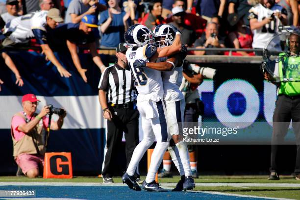 Wide receiver Cooper Kupp and wide receiver Robert Woods of the Los Angeles Rams celebrate Kupp's touchdown during the fourth quarter against the...