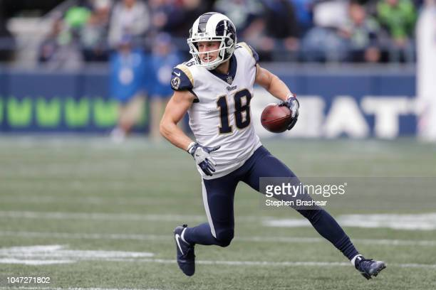 Wide Receiver Cooper Kupp of the Los Angeles Rams runs after a catch in the second half against the Seattle Seahawks at CenturyLink Field on October...