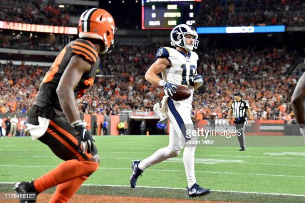 Wide receiver Cooper Kupp of the Los Angeles Rams runs in a touchdown after a six yard reception during the fourth quarter against the Cleveland...