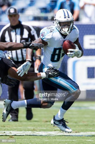 Wide receiver Corey Davis of the Tennessee Titans carries the ball during a game against the Oakland Raiders at Nissan Stadium on September 10 2017...