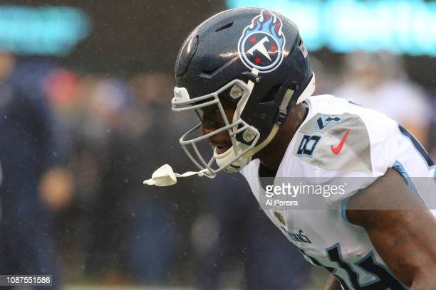 Wide Receiver Corey Davis of the Tennessee Titans in action against the New York Giants at MetLife Stadium on December 16 2018 in East Rutherford New...