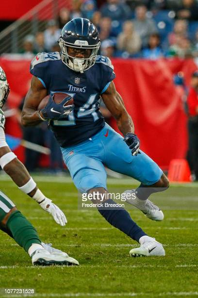 Wide receiver Corey Davis of the Tennessee Titans plays against the New York Jets at Nissan Stadium on December 2 2018 in Nashville Tennessee