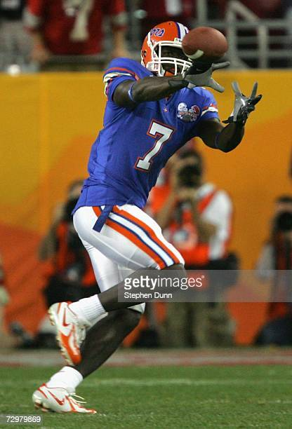 Wide receiver Cornelius Ingram of the Florida Gators makes a reception against the Ohio State Buckeyes during the 2007 Tostitos BCS National...