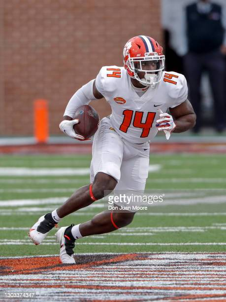 Wide Receiver Cornell Powell from Clemson of the American Team during the 2021 Resse's Senior Bowl at Hancock Whitney Stadium on the campus of the...