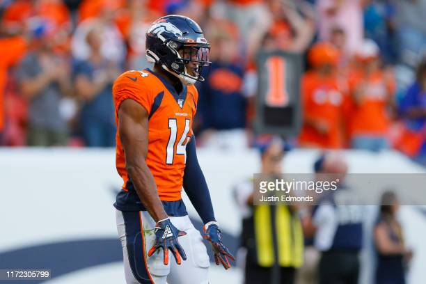 Wide receiver Courtland Sutton of the Denver Broncos celebrates his fourth quarter touchdown against the Jacksonville Jaguars at Empower Field at...