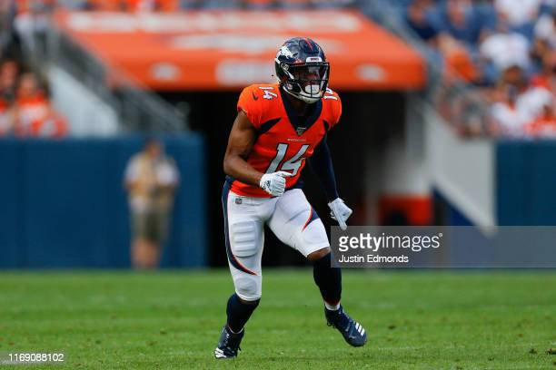 Wide receiver Courtland Sutton of the Denver Broncos in action against the San Francisco 49ers during a preseason game at Broncos Stadium at Mile...
