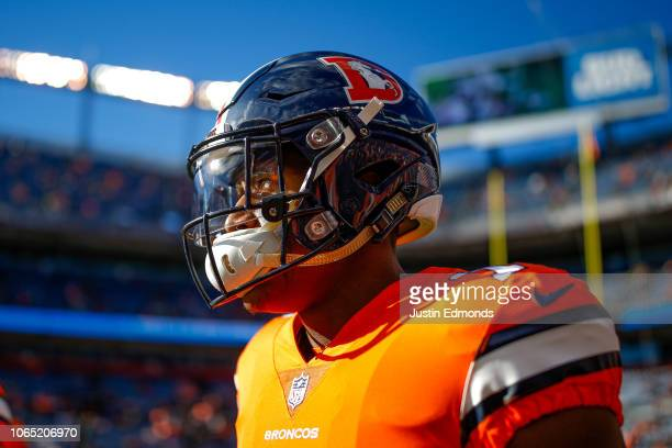 Wide receiver Courtland Sutton of the Denver Broncos stands on the field as players warm up before a game against the Pittsburgh Steelers at Broncos...