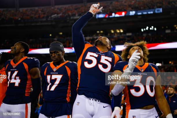 Wide receiver Courtland Sutton, wide receiver DaeSean Hamilton, outside linebacker Bradley Chubb, and running back Phillip Lindsay of the Denver...