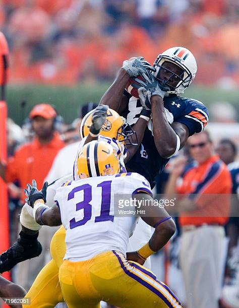 Wide receiver Courtney Taylor of the Auburn Tigers catches a pass during a game against the LSU Tigers on September 16, 2006 at Jordan-Hare Stadium...