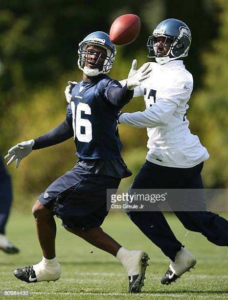 Wide receiver Courtney Taylor of the Seattle Seahawks fights for a pass against Marcus Trufant during mini camp on May 4, 2008 at Seahawks...