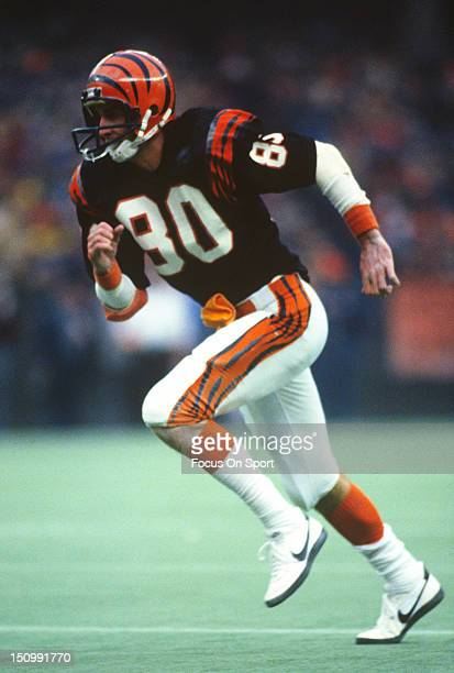 Wide Receiver Cris Collinsworth of the Cincinnati Bengals runs a pass rout during an NFL football game at Riverfront Stadium circa 1982 in Cincinnati...