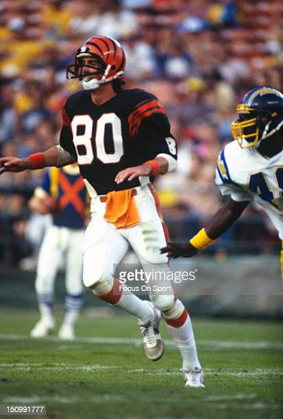 Wide Receiver Cris Collinsworth of the Cincinnati Bengals runs a pass rout against the San Diego Chargers during an NFL football game at Jack Murphy...