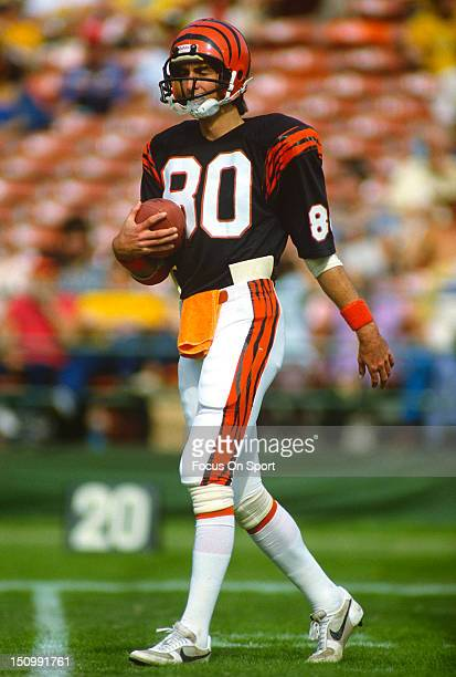 Wide Receiver Cris Collinsworth of the Cincinnati Bengals warms up in pregame warm ups before an NFL football game against the San Diego Chargers at...