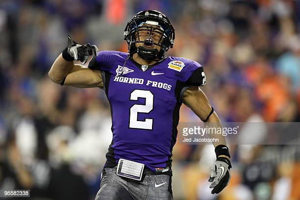 Wide receiver Curtis Clay of the TCU Horned Frogs reacts after scoring on a 30-yard touchdown reception in the second quarter against the Boise State...