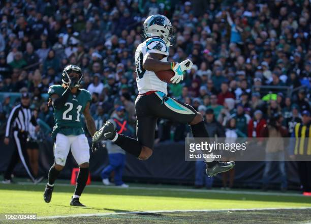 Wide receiver Curtis Samuel of the Carolina Panthers jumps into the endzone for a touchdown against cornerback Ronald Darby of the Philadelphia...