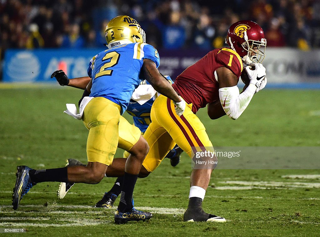 Wide receiver Darreus Rogers #1 of the USC Trojans makes a 15 yard reception in front of defensive back Jaleel Wadood #2 of the UCLA Bruins during the second quarter at Rose Bowl on November 19, 2016 in Pasadena, California.