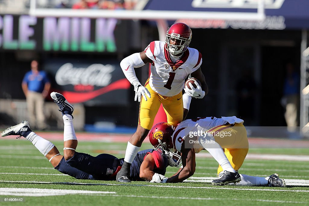 Wide receiver Darreus Rogers #1 of the USC Trojans runs up field during the third quarter of the college football game against the Arizona Wildcats at Arizona Stadium on October 15, 2016 in Tucson, Arizona. USC won 48-14.