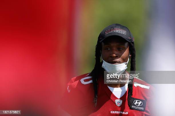 Wide receiver DeAndre Hopkins of the Arizona Cardinals participates in an off-season workout at Dignity Health Arizona Cardinals Training Center on...