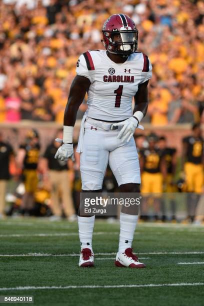 Wide receiver Deebo Samuel of the South Carolina Gamecocks in action against the Missouri Tigers at Memorial Stadium on September 9 2017 in Columbia...