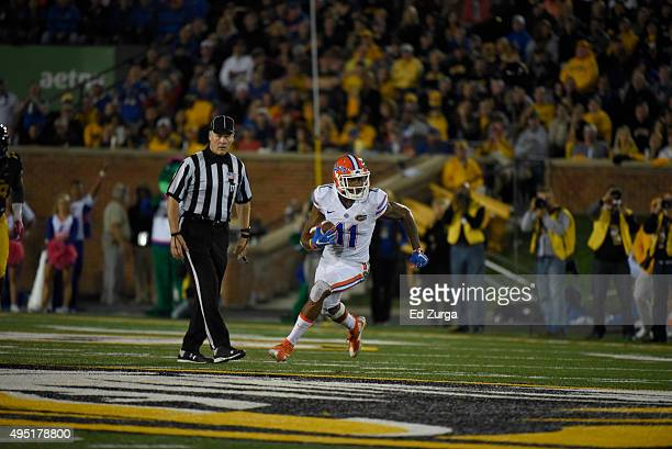Wide receiver Demarcus Robinson of the Florida Gators runs against the Missouri Tigers at Memorial Stadium on October 10 2015 in Columbia Missouri