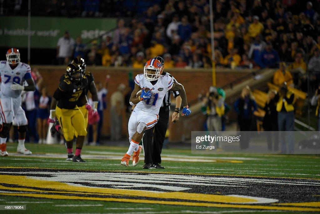 Wide receiver Demarcus Robinson #11 of the Florida Gators runs against the Missouri Tigers at Memorial Stadium on October 10, 2015 in Columbia, Missouri.