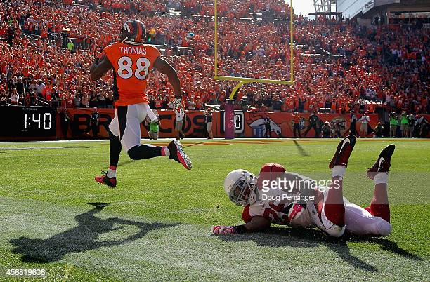Wide receiver Demaryius Thomas of the Denver Broncos beats free safety Rashad Johnson of the Arizona Cardinals for a 86 yard touchdown pass reception...