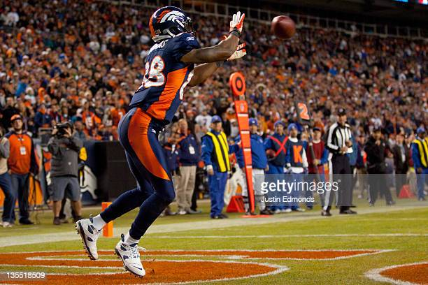 Wide receiver Demaryius Thomas of the Denver Broncos catches a touchdown pass in the fourth quarter against the Chicago Bears at Sports Authority...