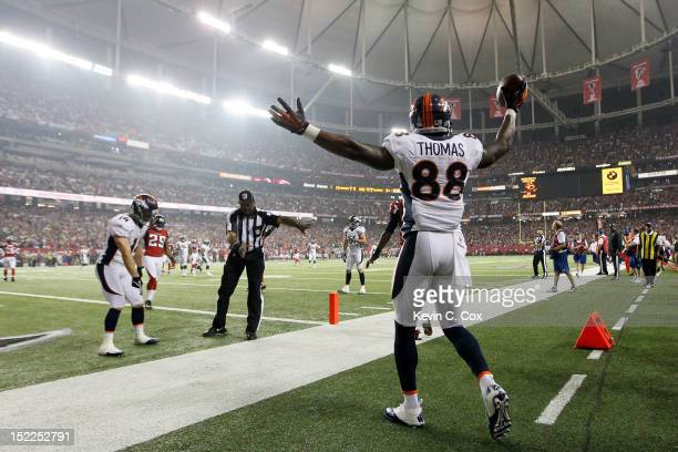Wide receiver Demaryius Thomas of the Denver Broncos celebrates after scoring a touchdown in the second quarter against the Atlanta Falcons during a...
