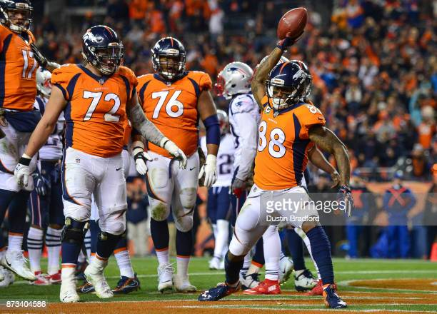 Wide receiver Demaryius Thomas of the Denver Broncos celebrates after scoring a third quarter touchdown against the New England Patriots at Sports...