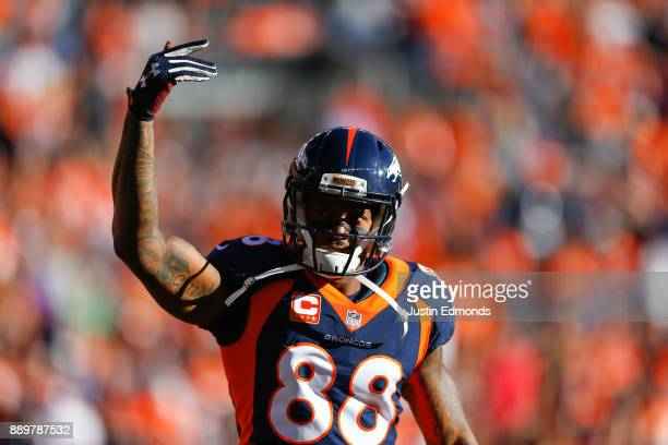 Wide receiver Demaryius Thomas of the Denver Broncos pumps up the crowd after scoring a first quarter touchdown against the New York Jets at Sports...