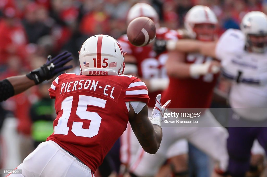 Wide receiver De'Mornay Pierson-El #15 of the Nebraska Cornhuskers catches a pass against the Northwestern Wildcats at Memorial Stadium on November 4, 2017 in Lincoln, Nebraska.
