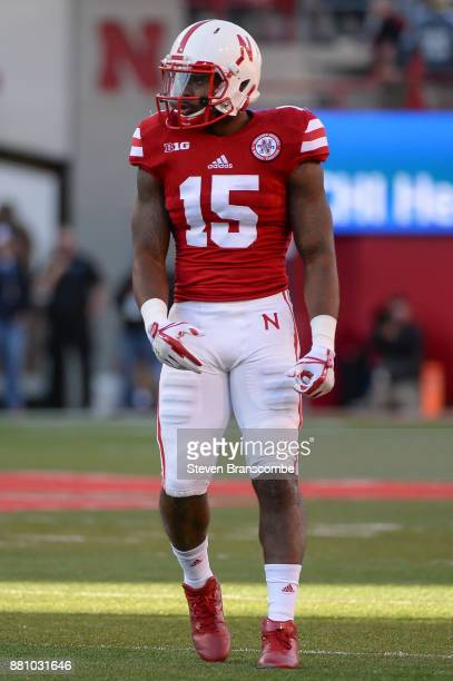 Wide receiver De'Mornay PiersonEl of the Nebraska Cornhuskers lines up for a play against the Iowa Hawkeyes at Memorial Stadium on November 24 2017...